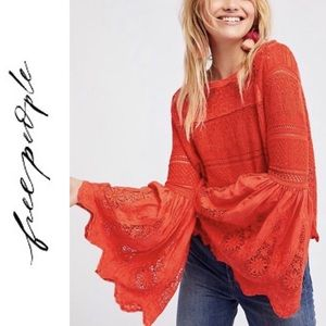 Free People Bell Sleeve Top in Coral